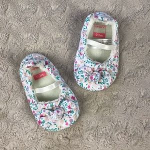 Carter's Floral Baby Girl Slippers 0-3 Months Pink